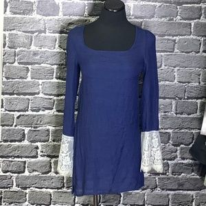 Judith March Navy Blue Gauze Tunic Lace Sleeves S
